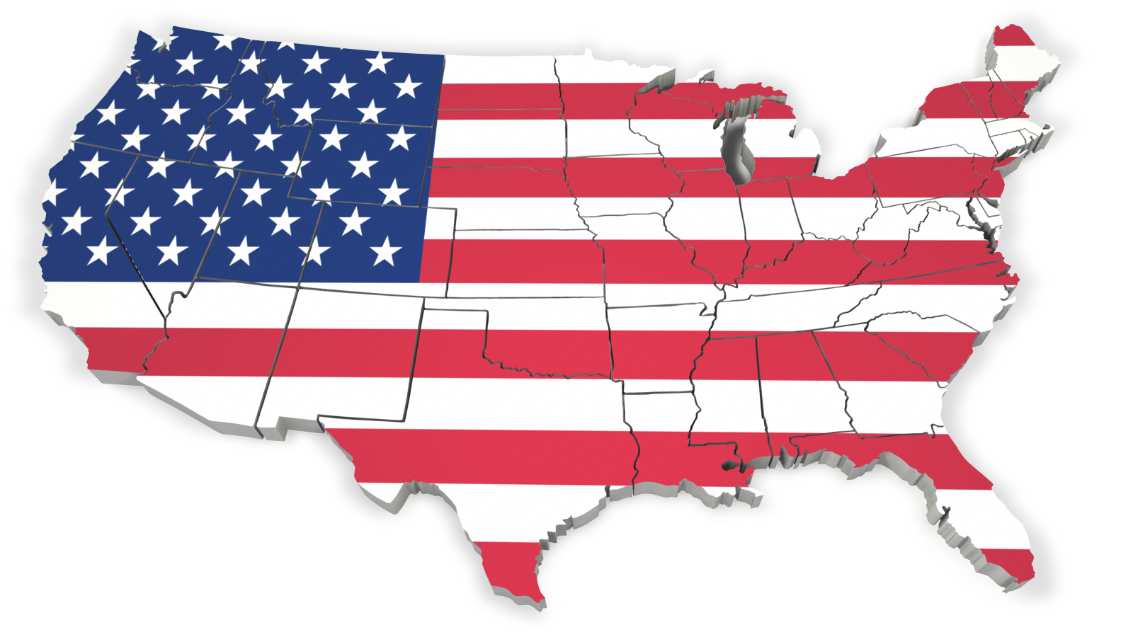 United states flag map outline 1600 clr 3123 Map 3.png - United States PNG HD