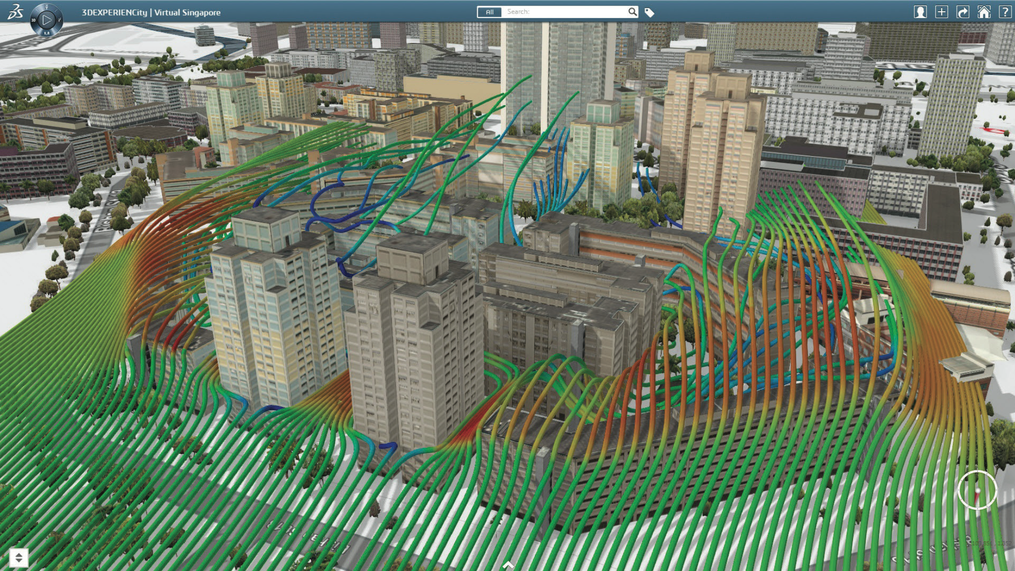3DEXPERIENCity, Wind Simulation for Singapore City, Singapore. - Urban Settlement PNG