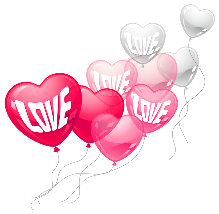Valentines Day Pink and White Love Heart Baloons PNG Clipart Picture - Valentines Day PNG HD