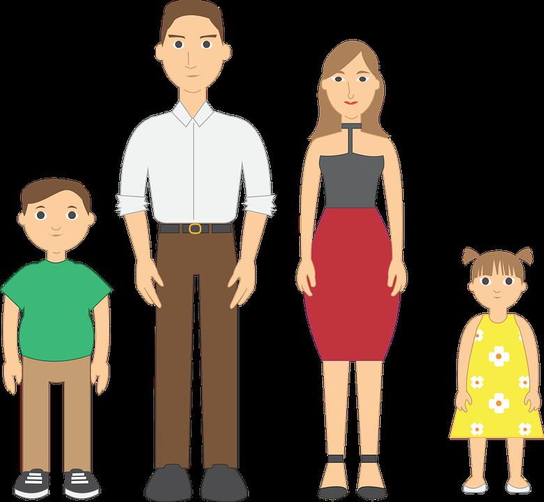 Familie, Vektor, Vater, Mutte
