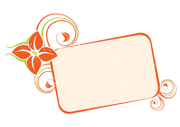 Orange Floral Frame Vector Image - Vector Frame PNG