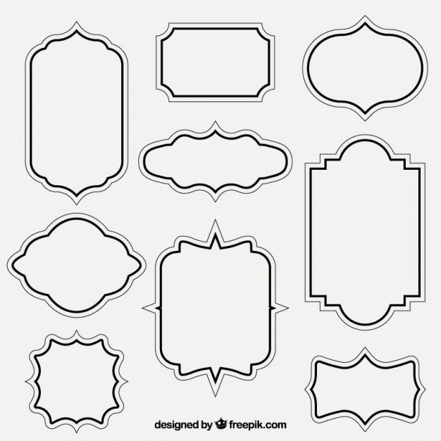 Retro outlined frames - Vector Frame PNG