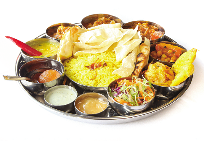 For vegetarian option the meats will me swapped for mixed vegetables. - Veg Thali PNG