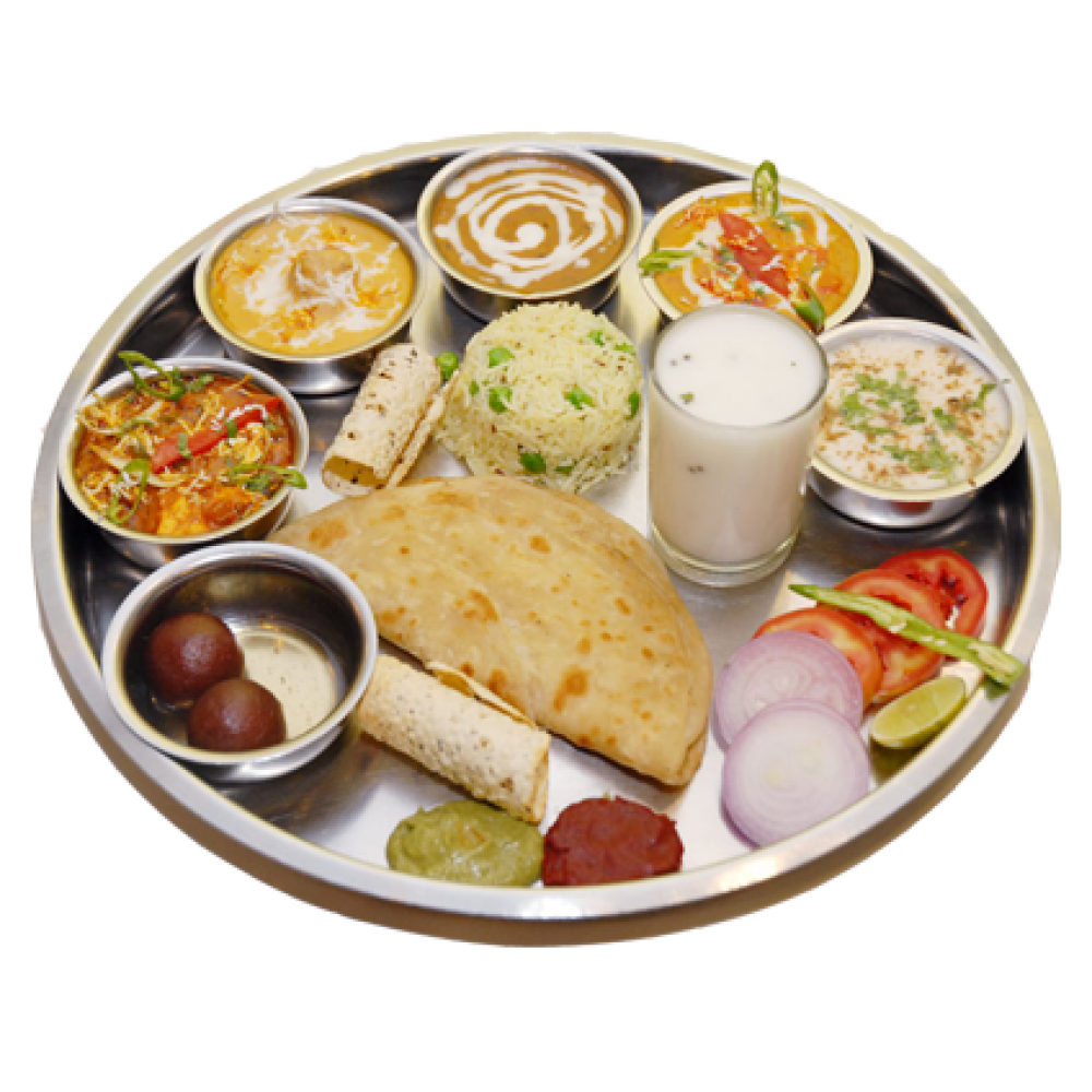 Veg Thali [ 5 roti, dal, rice, salad, veg, chass, - Veg Thali PNG