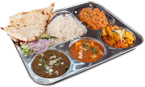 Veg. Thali Special $7. Choice of 3 fresh fresh prepared curries, rice,  naan/roti, pickle, dessert and salad - Veg Thali PNG