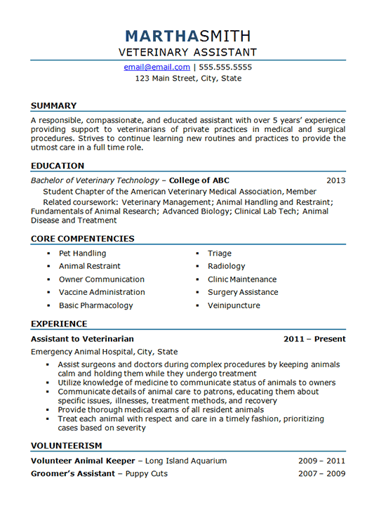 Veterinary Assistant Resume Example - Vet Assistant PNG
