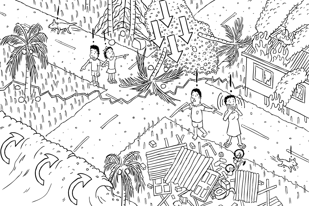 Black and white cartoon isometric earthquake, tsunami, landslide. High  angle of village affected - Village PNG Black And White