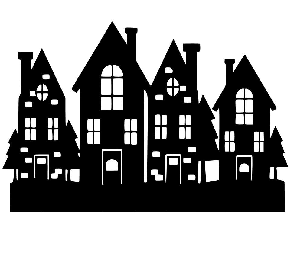 Christmas Village Studio File Download - Village PNG Black And White