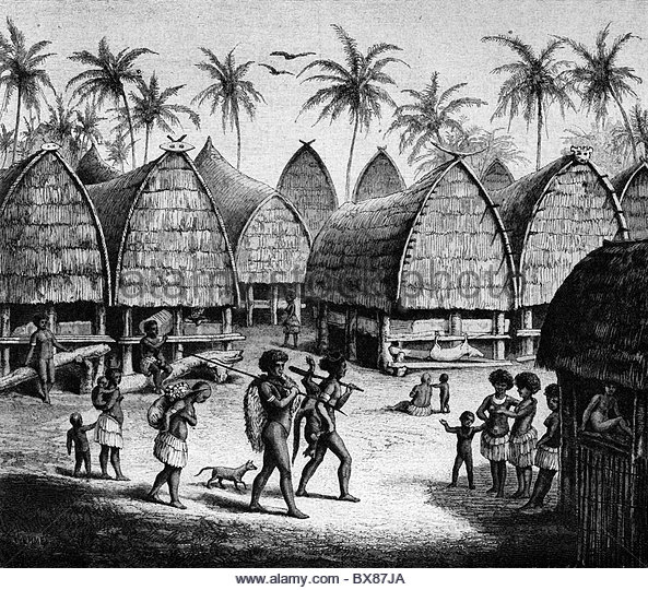 geography / travel, Papua New Guinea, Mapua village, wood engraving after  drawing by - Village PNG Black And White
