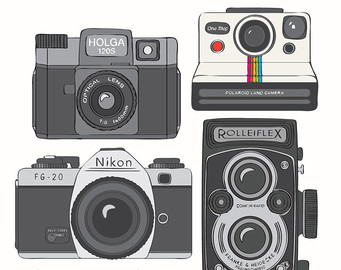 Vintage Cameras Clip Art 20 Image S 6in 300dpi Rolleiflex Holga - Vintage Camera PNG Nikon