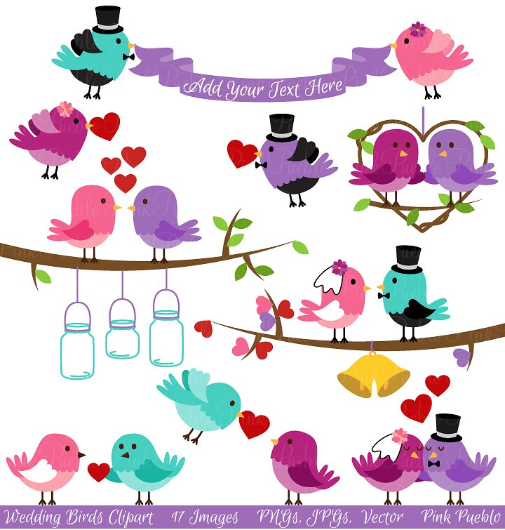 Vintage Love Birds PNG - 156545