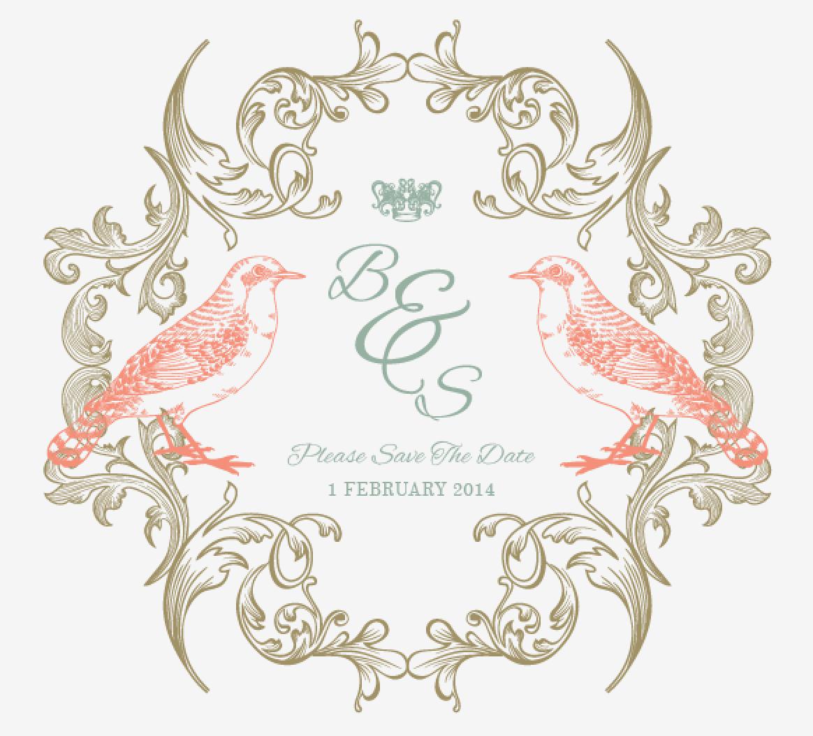 Vintage Love Birds PNG - 156546