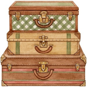 S SUITCASE Scrapbook Embellishment PCC427 | eBay - Vintage Luggage PNG