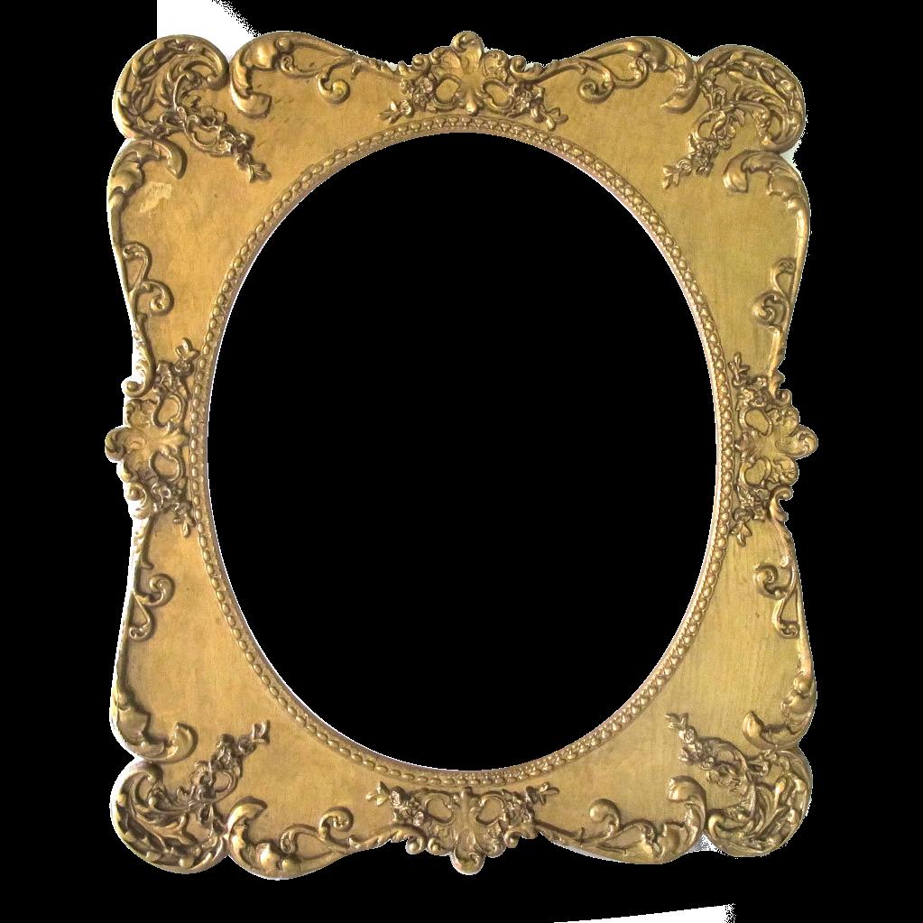 Large Antique Oval Picture Frame Ornate Wood Gesso Vintage Png