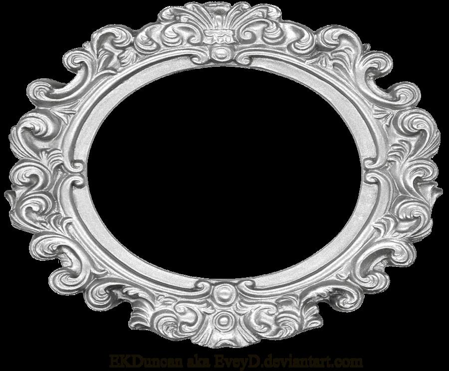 Ornate Silver Frame - Wide Oval by EveyD PlusPng.com  - Vintage Oval Frame PNG