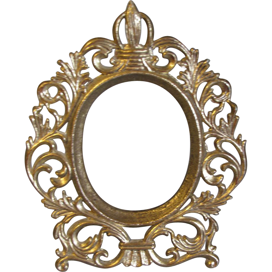 Small Vintage Oval Table Top Photograph Frame Png