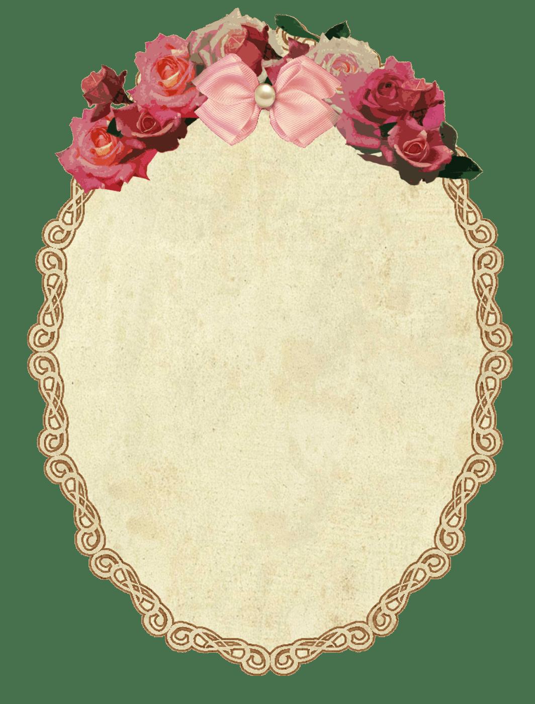 Vintage Oval Frame With Flowers - Vintage Oval Frame PNG