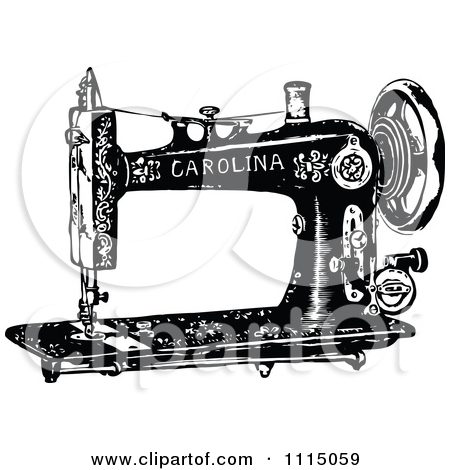 Clipart Vintage Black And White Antique Sewing Machine 2 - Royalty . - Vintage Sewing Machine PNG HD