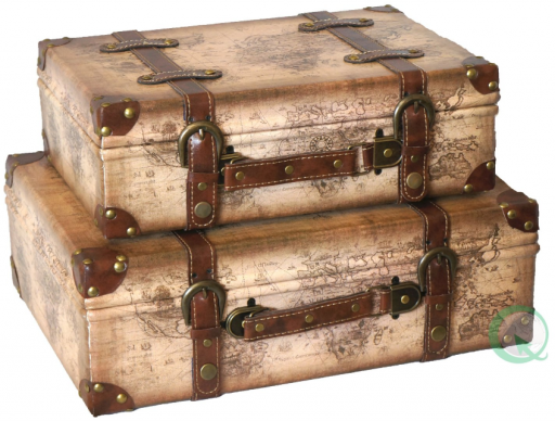 Old World Map Leather Vintage Style Suitcase - Vintage Suitcase PNG