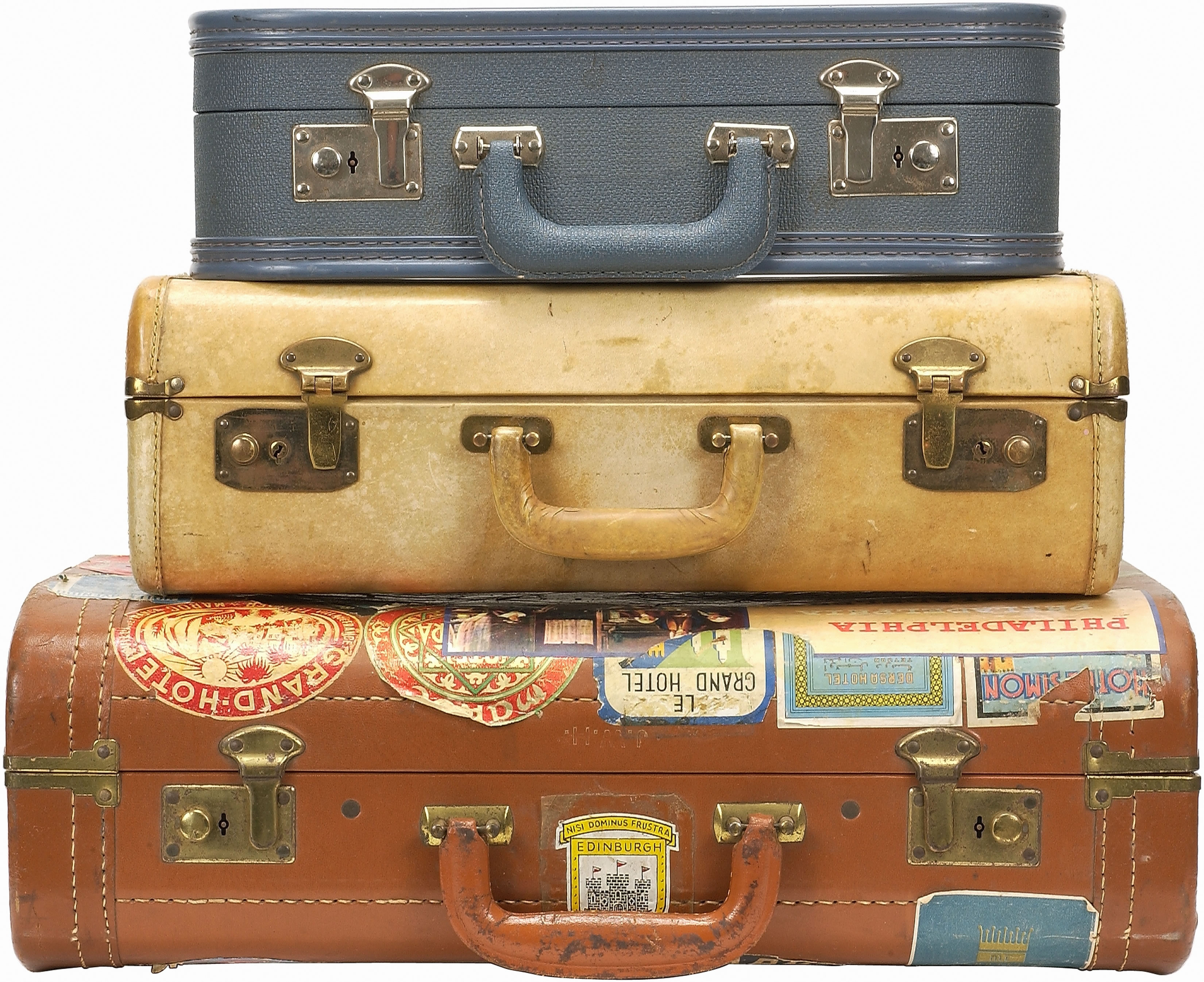 Vintage Luggage: Stack of three antique suitcases. - Vintage Suitcase PNG