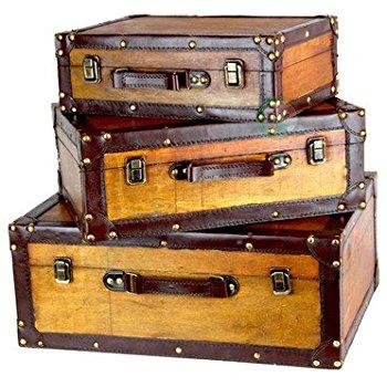 Vintiquewise(TM) Old Vintage Suitcase/Decorative Trunk, Set of 3 - Vintage Suitcase PNG