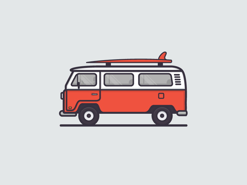 Dribbble - VW Bus by Sean Holstien - Volkswagen Busje PNG