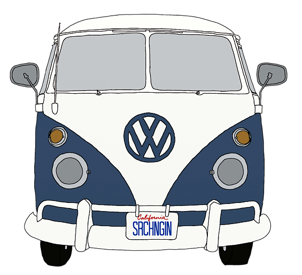 Vw Bus Front End Blue by Priscilla Wolfe - Volkswagen Busje PNG