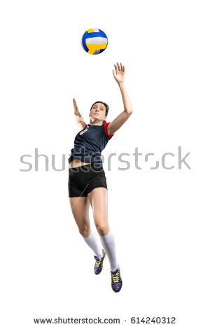 Female volleyball player hitting the ball - Volleyball Players PNG Hitting