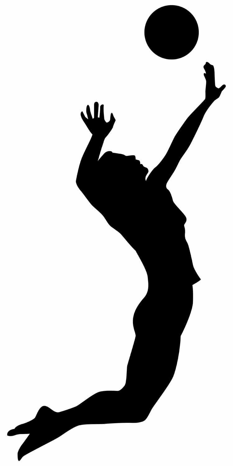 Volleyball player hitting silhouette - Volleyball Players PNG Hitting