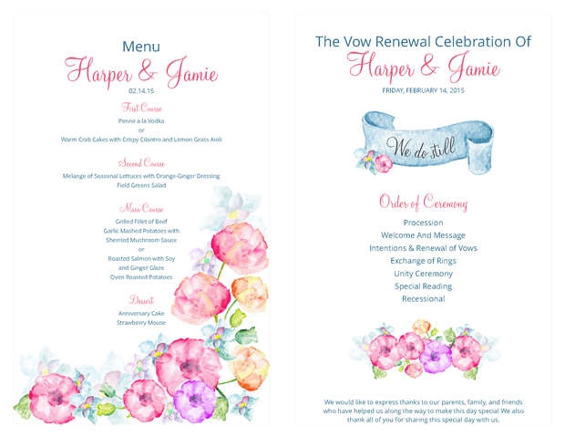 Ceremony Program and Menu - Watercolor Flowers Vow Renewal Invitation Suite - Vow Renewal PNG