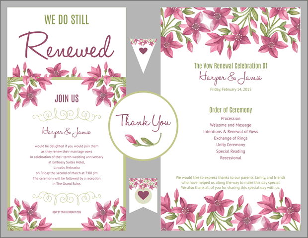 favs-purple-green-floral-vow-renewal-invitation-s - Vow Renewal PNG