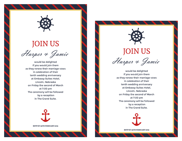 Invitation - Classic Nautical Vow Renewal Invitation - Vow Renewal PNG