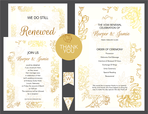 Preview of Gold Floral Vow Renewal Invitation Suite - Vow Renewal PNG