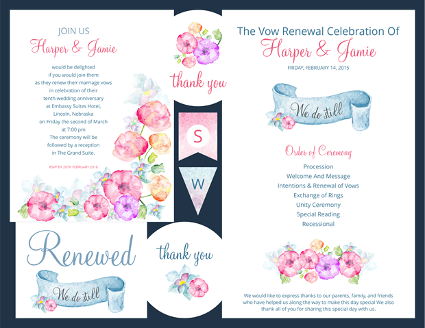 Preview of Watercolor Flowers Vow Renewal Invitation Suite - Vow Renewal PNG