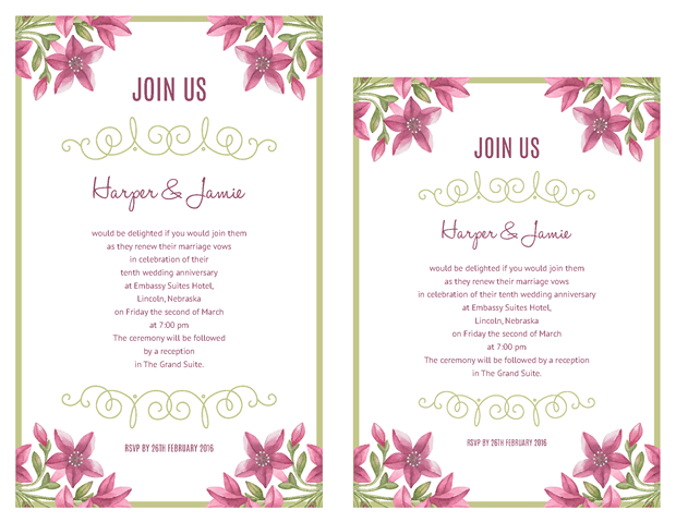 Purple Floral Design Vow Renewal Invitations - Vow Renewal PNG