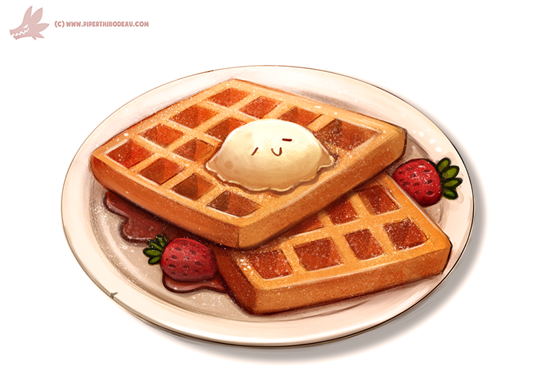 Waffles by Cryptid-Creations PlusPng.com  - Waffle Breakfast PNG
