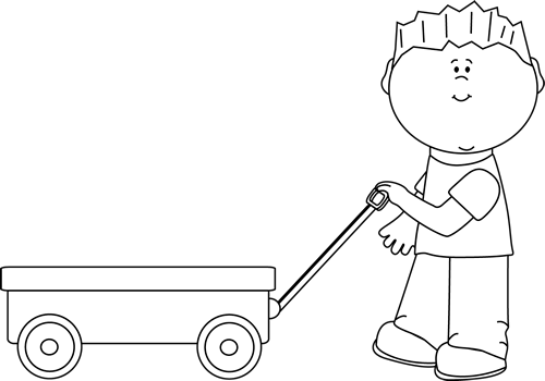 Black and White Boy Pulling a Wagon - Wagon PNG Black And White