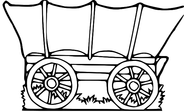 Covered Wagon Clipart - Wagon PNG Black And White