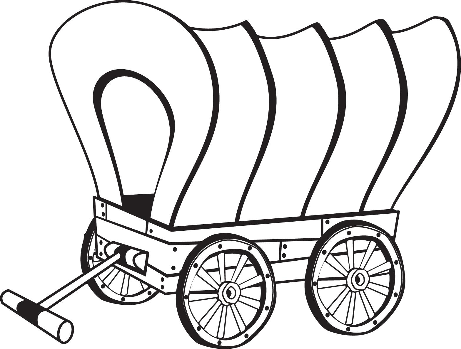 Pioneer Wagon Coloring Page, pioneer clip art black and white - Wagon PNG Black And White