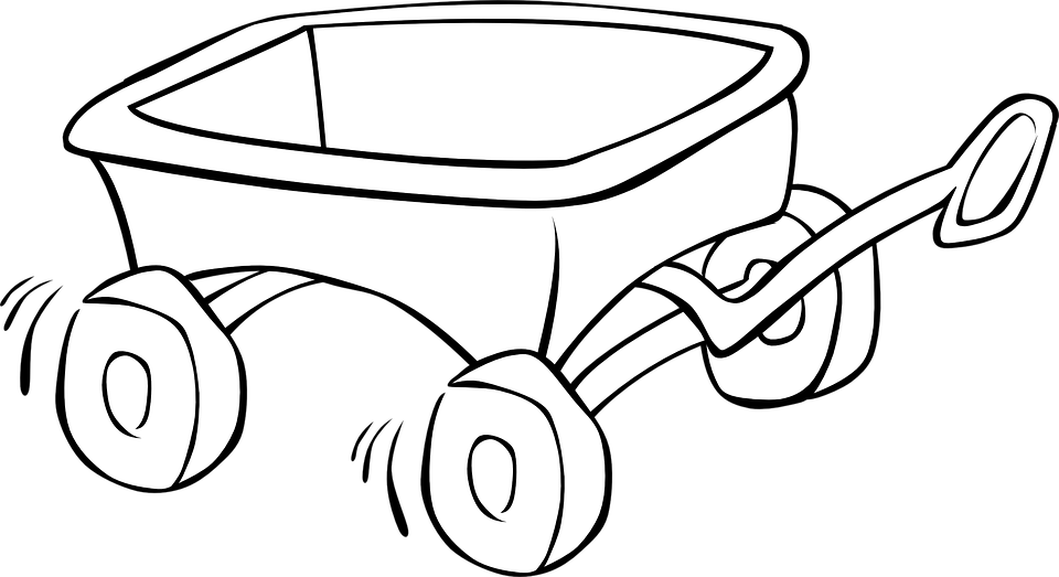 Wagon, Carriage, Toys, Child, Running, Outlines - Wagon PNG Black And White