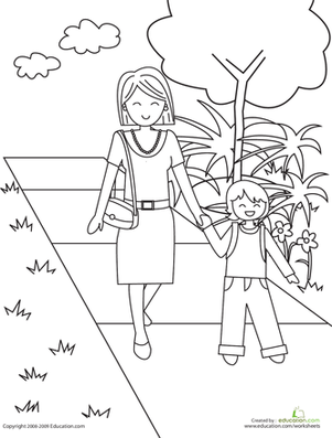 Kindergarten Coloring Worksheets: Color the Walk to School - Walk To School PNG Black And White