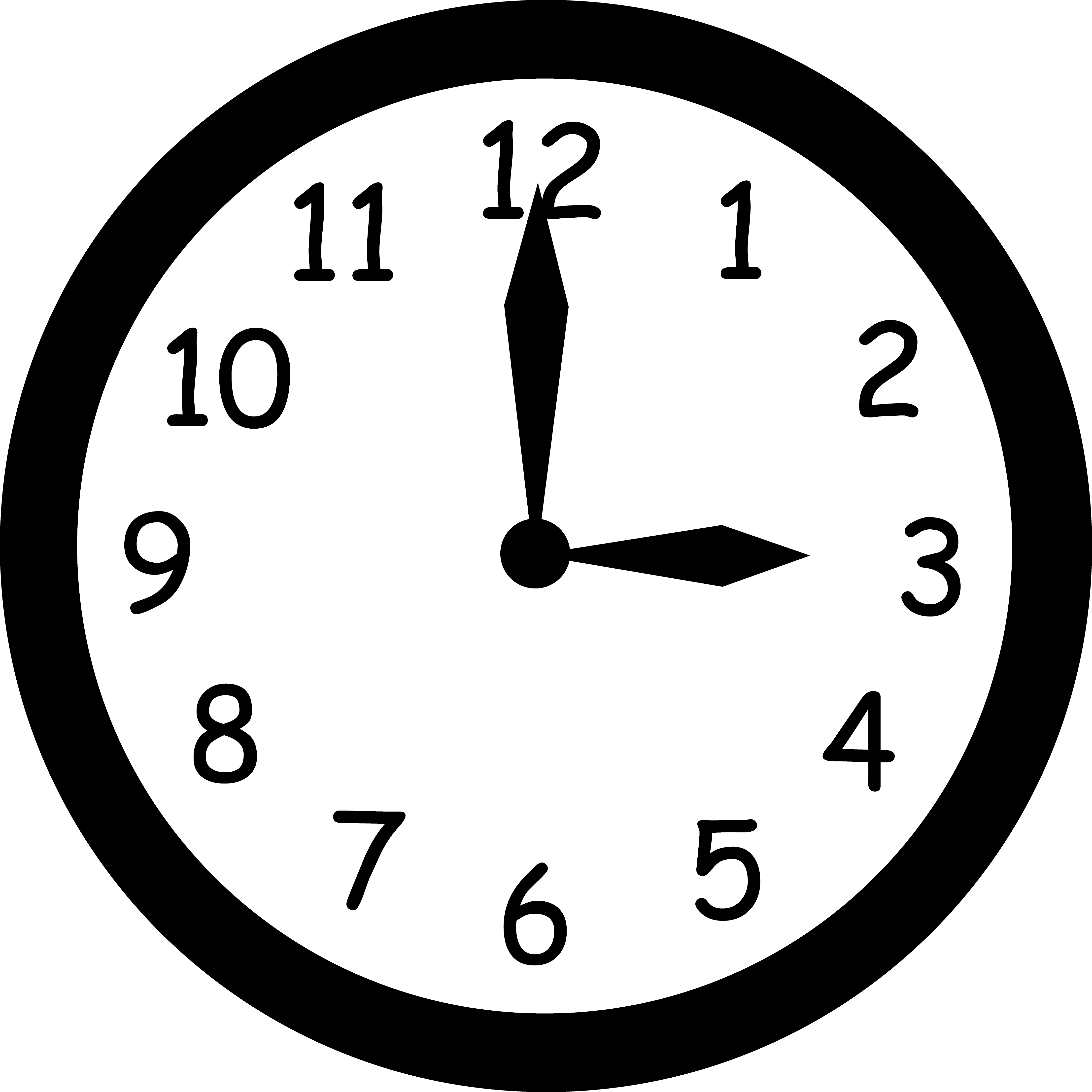 Free Photos Black And White | Black and White Clock Reading Three - Wall Clock PNG Black And White