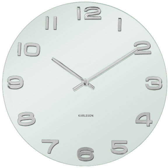 Karlsson Vintage Round Glass Wall Clock (White) image 2 - Wall Clock PNG Black And White