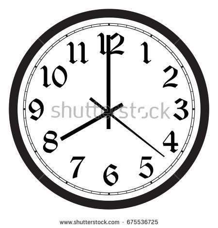 Vector simple classic black and white round wall clock isolated on white.  Clock on wall - Wall Clock PNG Black And White