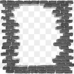black simple brick wall frame - Wall PNG Black And White