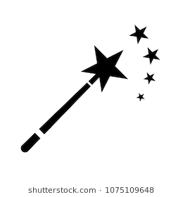Magic wand icon isolated on white background. Flat magic wand logo for  business, marketing - Wand PNG Black And White