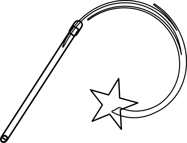 Wand Black And White clip art - Wand PNG Black And White