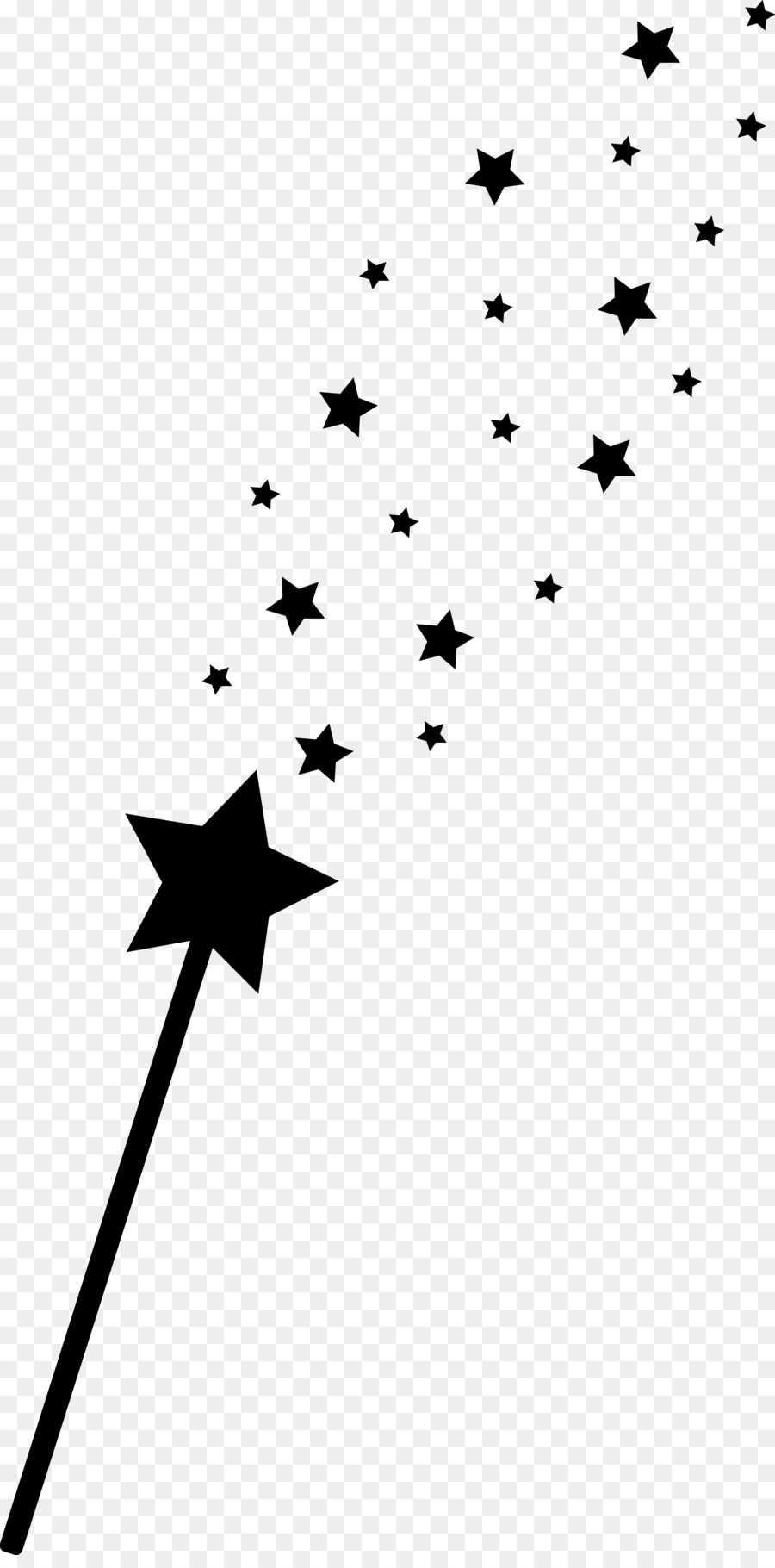 Wand Fairy Magic Clip art - Stars Silhouette - Wand PNG Black And White