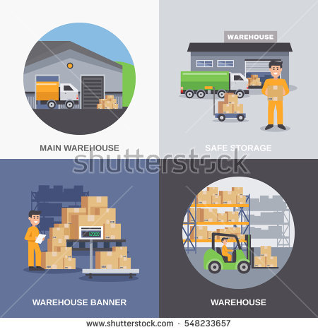 Warehouse 2x2 flat design concept with storage building and workers loading  boxes by fork lifts vector - Warehouse Group Vector PNG
