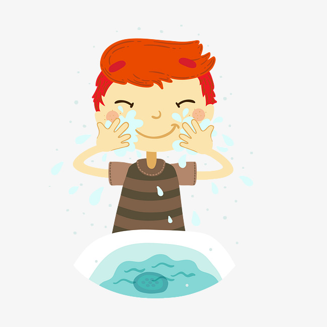 cartoon boy wash face material, Wash It, Wash Your Face, Hand Basin PNG - Wash Hands And Face PNG